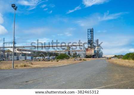 Portland, Australia - January 24, 2016: the Alcoa aluminium smelter in Portland has the capacity to produce 345,000 tons of aluminium per year.