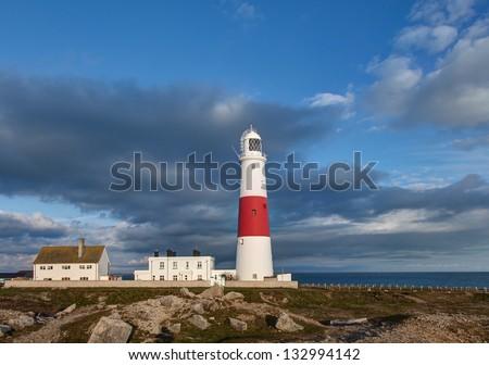 Portland Bill Lighthouse Dorset Jurassic Coast - World Heritage Site  - England UK - stock photo