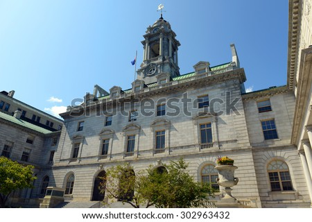 Portland City Hall is the center of Portland government. This building was built in 1909, Portland, Maine, USA. - stock photo
