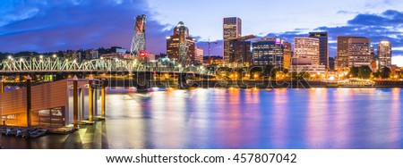 Portland city scape at night with reflection on the water,Oregon,usa.