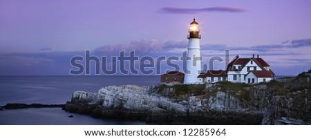 Portland Head Light, After Sunset, Portland Maine - stock photo