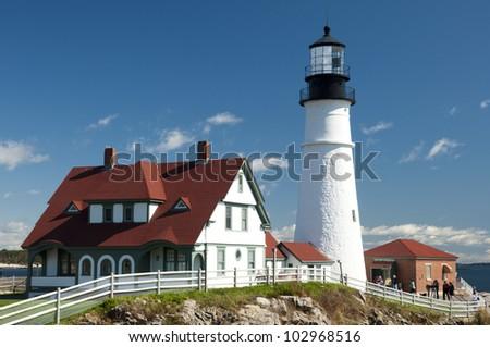 Portland Head Light Lighthouse in Maine, New England, USA, Portland Head Light Leuchtturm in Maine, Neu England, USA - stock photo
