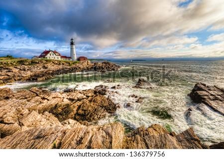 Portland Head Lighthouse, Cape Elizabeth, Maine, USA - stock photo