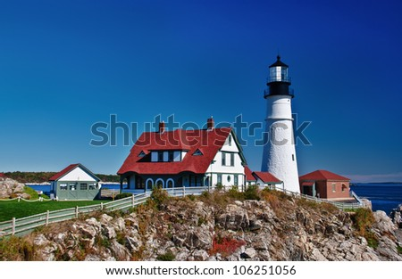 Portland Head Lighthouse in Cape Elizabeth, Maine - stock photo