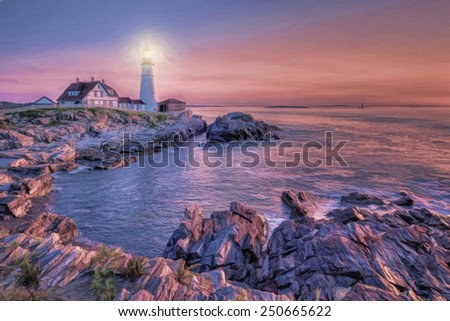 Portland Head Lighthouse in Portland, Maine at Dawn - stock photo