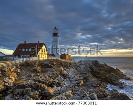Portland Head Lighthouse in South Portland Maine - stock photo