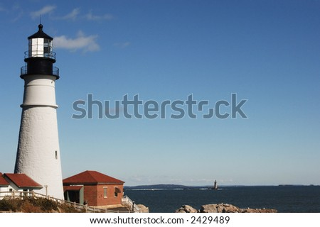 Portland Head Lighthouse on a clear day - stock photo