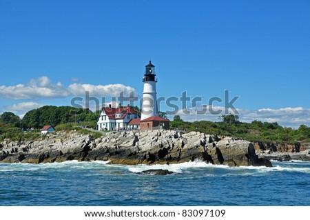 Portland Head Lighthouse on the Coast of Maine - stock photo