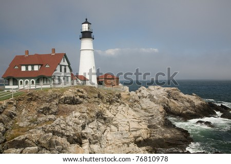 Portland Head Lighthouse with an approaching Fog Bank