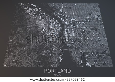 Portland Map Satellite View Oregon State United States