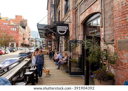 PORTLAND, OR - FEBRUARY 27, 2016: Barista coffee shop in the Pearl District of Portland Oregon. - stock photo