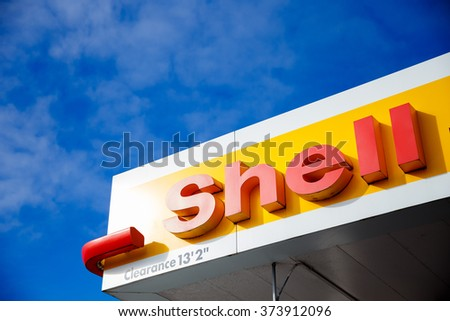 PORTLAND, OR - FEBRUARY 2, 2016: Shell gas station sign against a blue sky. - stock photo