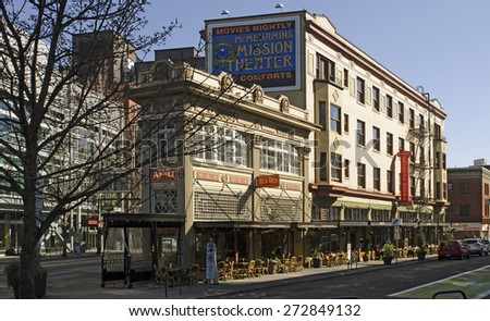 Portland, OR, USA - March 7, 2015: McMenamins Crystal Hotel and Ballroom in downtown Portland Oregon off of Burnside.  Microbrew craft beer restaurant - stock photo