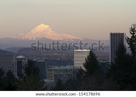 Portland Oregon and Mount Hood in the Distance - stock photo
