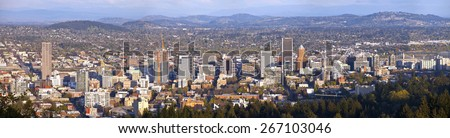Portland Oregon city panorama from Pittock Mansion. - stock photo