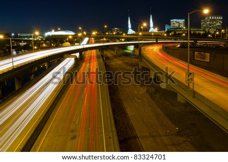 Portland Oregon City Skyline Freeway Light Trails at Night