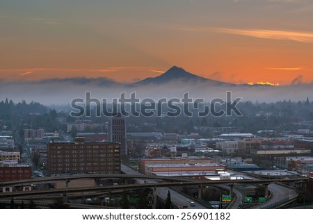 Portland Oregon downtown cityscape eastside industrial area with Mount Hood during sunrise - stock photo