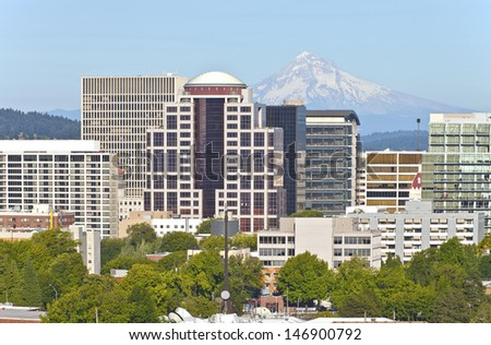 Portland Oregon downtown skyline and Mt. Hood. - stock photo