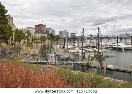 Portland Oregon Downtown Waterfront City Skyline by Willamette River Marina - stock photo