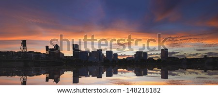 Portland Oregon Downtown Waterfront City Skyline with Hawthorne Bridge at Sunset Panorama