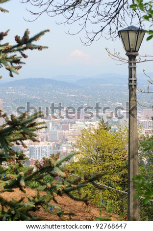 Portland, Oregon skyline and park - stock photo