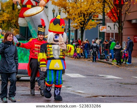 Portland, Oregon, USA - November 25, 2016: Costumed characters march in the annual My Macy's holiday Parade across Portland Downtown.