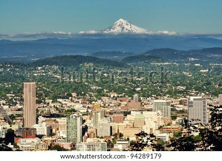 Portland skyline from Pittock mansion - stock photo