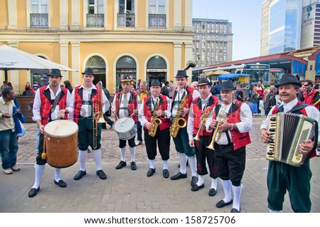 PORTO ALEGRE, BRASIL - CIRCA OCTOBER 2012  - Traditional Orchestra of German immigrants circa October 2012 in Porto Alegre. - stock photo