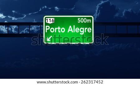 Porto Alegre Brazil Highway Road Sign at Night - stock photo