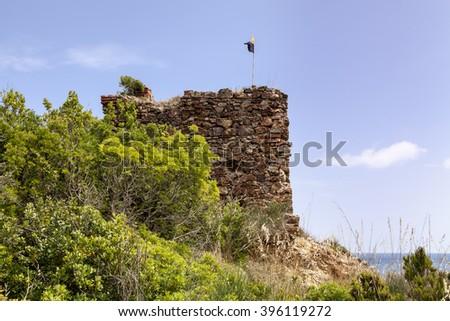 Porto Azzurro, Terranera, watchtower, Elba, Tuscany, Italy, Europe - stock photo