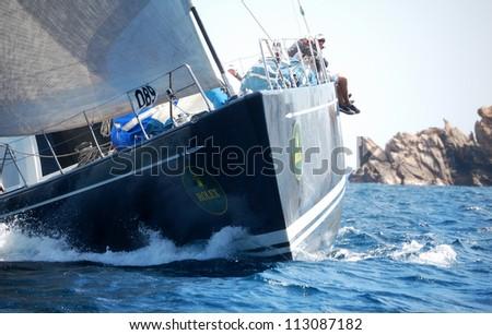 PORTO CERVO, ITALY - SEPTEMBER 12:  team unidentified  in the  Rolex Swan Cup boat race on September 12, 2012 in Porto Cervo, Italy. - stock photo