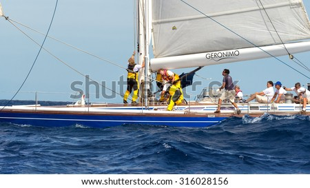PORTO CERVO - 8 SEPTEMBER: Maxi Yacht Rolex Cup sail boat race. The event is one of international sailing's most important and revered competitions. on September 8 2015 in Porto Cervo, Italy - stock photo