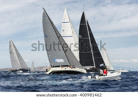 PORTO CERVO - 8 SEPTEMBER: teams competing on Maxi Yacht Rolex Cup sail boat race in Sardinia, on September 8 2015 in Porto Cervo, Italy - stock photo