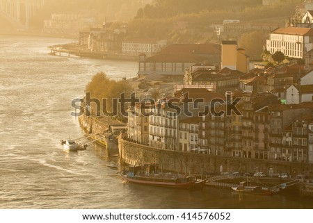 porto city in sunset - stock photo