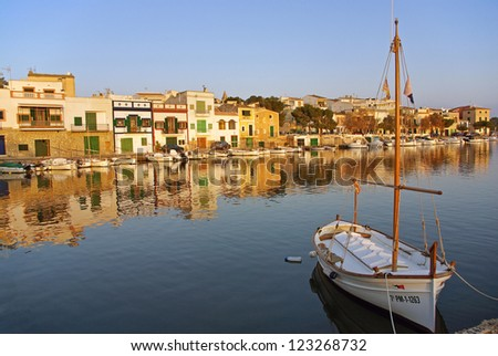 Porto Colom typical seaside village in Majorca (Spain) at sunset