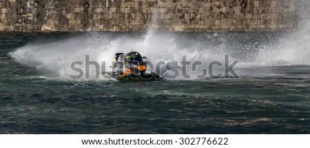 PORTO - GAIA, PORTUGAL - AUGUST 2, 2015: Ahmed Al Hameli (ARE) during the U.I.M. F1H2O World Championship in Porto & Gaia, Portugal. - stock photo