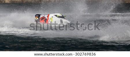PORTO - GAIA, PORTUGAL - AUGUST 2, 2015: Sami Selio (FIN) during the U.I.M. F1H2O World Championship in Porto & Gaia, Portugal. - stock photo