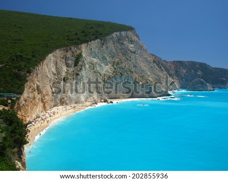 Porto Katsiki beach at Lefkada island, Greece - stock photo