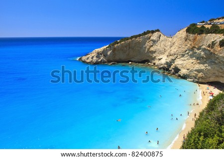 Porto Katsiki beach in Lefkada, Greece - stock photo