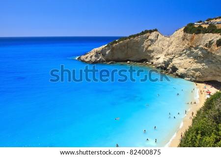 Porto Katsiki beach in Lefkada, Greece - stock photo