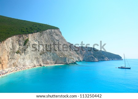 Porto Katsiki beach, Lefkada Greece - stock photo