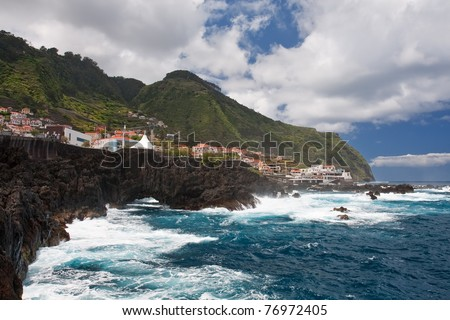 porto moniz on madeira island, portugal - stock photo