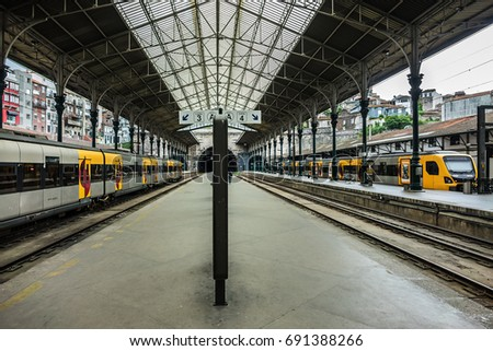 PORTO, PORTUGAL - APRIL 16, 2017: Interior of Sao Bento railway station (1864) in Porto.