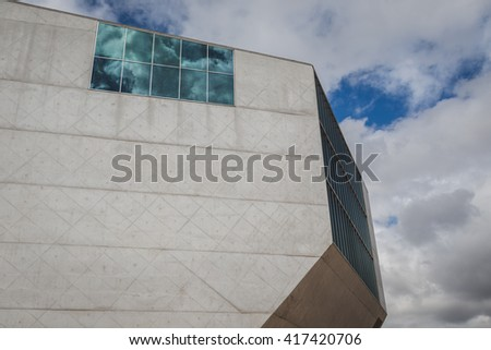 PORTO, PORTUGAL - AUGUST 31, 2015: Architectural detail of House of Music building (Casa da Musica), cultural institution and famous concert hall designed by Dutch architect Rem KoolHaas. - stock photo