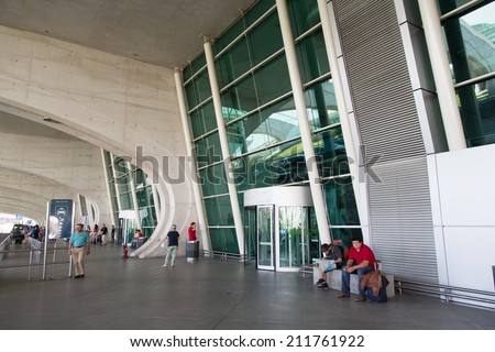 PORTO, PORTUGAL - AUGUST 3, 2014: Entrance of Francisco Sa Carneiro Airport. The airport is about 10 km from the center of the city of Porto, and it's named in memories of Portuguese Prime Minister