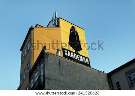 Porto, Portugal - August 20, 2012: Sandeman is famous a brand for wines and sherrys. It is a worldwide brand, distribued in more than 75 markets. It is also known by its iconic silhouette of the Don. - stock photo