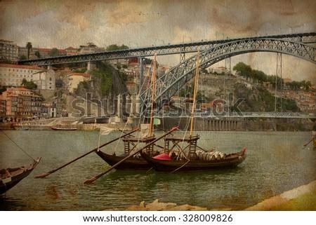 Porto, Portugal cityscape on the Douro River, Vintage image - stock photo