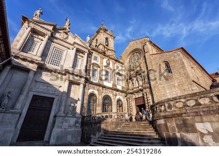 Porto, Portugal. December 29, 2014: Sao Francisco Church, right, 14th century Gothic architecture. Terceiros de Sao Francisco Church, left, in Neoclassical architecture. Unesco World Heritage Site  - stock photo