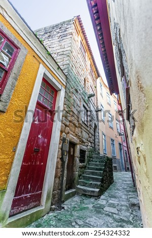 Porto, Portugal. January 5, 2015: Barredo Tower, or Rua de Baixo Tower. One of the oldest buildings of Porto and the only example of civilian medieval architecture in the area. Unesco World Heritage. - stock photo