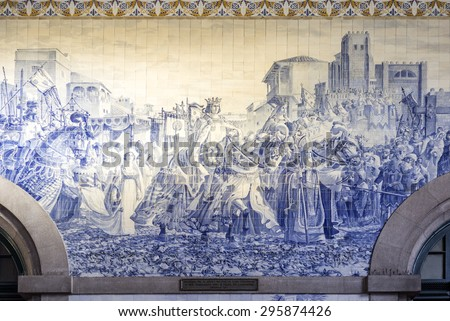 PORTO, PORTUGAL - JULY 04, 2015: Ancient vintage Azulejo panel on inside walls of main hall of Sao Bento Railway Station in Porto city. Installed between 1905-1906. On July 04, 2015 in Porto, Portugal - stock photo